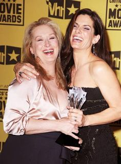 Meryl Streep and Sandra Bullock cracking up at Critics' Choice Awards.