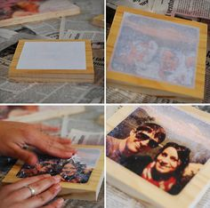 laser printed pictures on wood - with pictures, directions and great answers to questions. may have to try this with our next family photos. Diy Home Crafts, Decor Crafts, Crafts To Make, Wood Crafts, Fun Crafts, Crafts For Kids, Gift Crafts, Photo On Wood, Picture On Wood