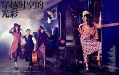 """Orient Express"" | Models: Tian Yi, Bonnie Chen, Miao Bin Si, Danni Li & Ma Jing, Photographer: Stockton Johnson, Vogue China, F/W 2012"