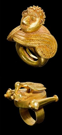 Africa | Rings from the Asante people of Ghana. | Gold alloy | Est. for each ring 1000 - 2000CHF