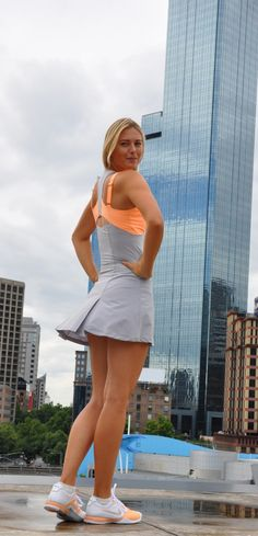 Nike Maria Sharapova Open Ace Women's Tennis Dress in grey and orange.... Love the colors!