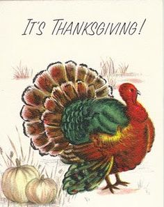 Thanksgiving Cards Vintage Retro Card acknowledgements Thanks Ticket