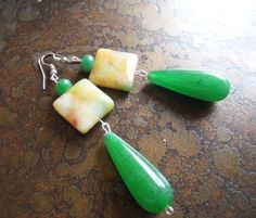 Morning Hike Glass Agate and Jade Beaded Dangle by SatinDollCo