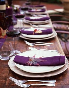 14 More Stylish Ways To Add Purple To Your Fall Wedding: A rustic wedidng tablescape with a purple table runner, napkins and fall leaves Fall Wedding Table Decor, Wedding Table Decorations, Wedding Table Settings, Decoration Table, Place Settings, Centerpiece Ideas, Pumpkin Centerpieces, Table Centerpieces, Wedding Centerpieces