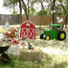 Farm Party - make tractor and barn out of cardboard