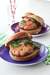 Asian Salmon Burgers: 1 lb skinless salmon fillet, cut into chunks 1/4 ...