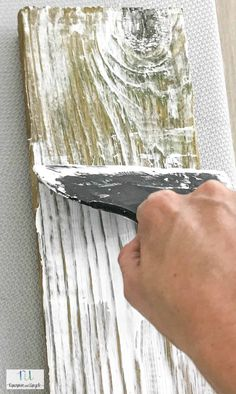 Learn how to create your own DIY Weathered Barn Wood look with new wood. This is such a simple aged wood technique that only requires two materials. If you love new wood with that aged look this post Woodworking Crafts, Woodworking Plans, Popular Woodworking, Woodworking Furniture, Painted Furniture, Diy Furniture, White Washed Furniture, Farmhouse Furniture, Barn Wood Projects