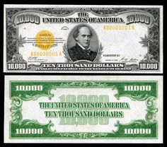 Large denominations of United States currency