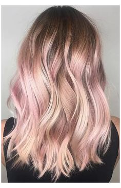 Rose Gold Hair Blonde, Blonde With Pink, Rose Gold Bayalage, Blonde Hair With Color, Blonde To Pink Ombre, Rose Gold Toner Hair, Ombre Hair Dye, Black Girl Pink Hair, Baby Pink Hair
