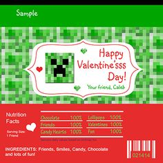 VALENTINES DAY Minecraft Class Party Candy Bar Wrapper Fits a standard size Hershey bar or similar size bar. (1.55 oz)  This will be personalized/customized for you and then emailed to you with two wrappers on an 8.5x11