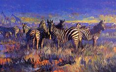 [EndLiss scans - Wildlife Art] Terry Lee - Zebra with Giraffes