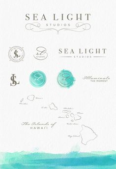 Sea Light Studios Photography Branding and Identity Design - Custom Logo Design, Watermarks, Brand Graphics, Watercolor