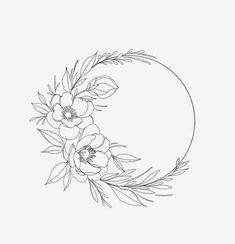 Fantasting Drawing Hairstyles For Characters Ideas. Amazing Drawing Hairstyles For Characters Ideas. Flower Outline, Flower Art, Tattoo Drawings, Art Drawings, Embroidery Patterns, Hand Embroidery, Wreath Tattoo, Wreath Drawing, Floral Drawing