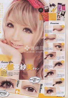 Doll Eye Makeup, Gyaru Makeup, Hair Makeup, Kawaii Makeup Tutorial, Easy Makeup Tutorial, Makeup Tutorials, Hair Tutorials, Cute Makeup, Simple Makeup