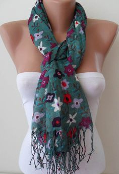 Green and Colorful Flowered Scarf by SwedishShop on Etsy, $13.90