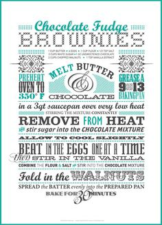 Typographic Dessert Recipe by Leanda Zavian - #type