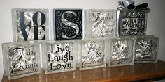 This is a great idea for me to use with my sparkle embellishments as part of some type of decorations. Two Chicks and a Vinyl Cutter: Glass Blocks. Decorative Glass Blocks, Lighted Glass Blocks, Glass Cube, Glass Boxes, Vinyl Crafts, Vinyl Projects, Wood Crafts, Glass Block Crafts, Glass Brick