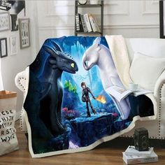 New lwfushi How Train Your Dragon Blanket Cartoon Print Blanket Warm Sofa Blanket Kids Adults Leisure Wear Blankets Super Soft Sherpa Fleece Blankets (Adults 59 x 79 inch) online - Greattopfurniture