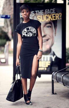 look all black pencil skirt t-shirt