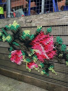 Cross Stitch Street Art – Embroidered Art Taken To The Next Level – Bored Art – Technology Updated Ideas Yarn Bombing, Cross Stitching, Cross Stitch Embroidery, Guerilla Knitting, Street Art, Street Signs, Fence Art, Cross Stitch Flowers, Old Art