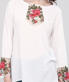 Ecru Floral Embroidered Bell-Sleeve Swing Top | zulily