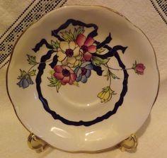 Vintage Royal Albert Tea Cup Saucer Set Pink Yellow Floral Black Ribbon | eBay
