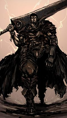 The black swordsman- I freakin' love him!from the anime berserk (pinned it in art board though)