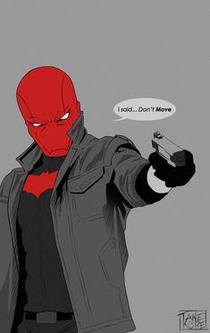 The Red Hood. Batman Comic Art, Im Batman, Batman Robin, Red Hood Comic, Batman Red Hood, Batman Arkham City, Batman Arkham Origins, Gotham City, Red Hood Jason Todd