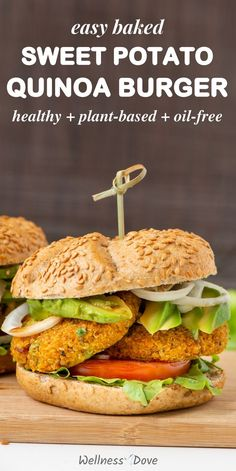 30 minutes · Vegetarian · Serves 12 · Easy, healthy and delicious veggie burger recipe that is compeltely whole food plantbased! This vegan burger is so hearty, fresh and also has no oil! It's a burger that is also a health food! Full of… More Sweet Potato Burgers, Quinoa Sweet Potato, Burger Recipes, Vegetarian Recipes, Healthy Recipes, Healthy Food, Vegan Food, Easy Homemade Burger Recipe, Quinoa Burgers
