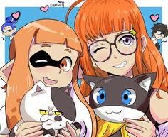 """Inkling ,Futaba and ""Cats""🐱 ✨ Super Smash Bros Game, Nintendo Super Smash Bros, Persona 5 Anime, Persona 5 Joker, Metroid, Super Smash Ultimate, Otaku, Chibi, Nintendo Characters"