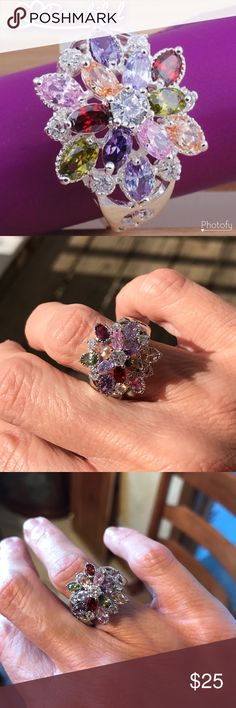 Really Pretty Sterling Over lay  Multi-Stone Ring This is truly pretty in person and a show stopper piece. The stones are multi faceted layered and the ring itself sits approx 1/2 inch high (see pic 4). Size 5-5 1/2. Would make a wonderful Christmas gift🎄🎄🎄🎄 Jewelry Rings