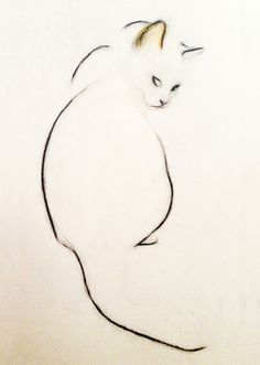 """Saatchi Online Artist: Kellas Campbell; Charcoal 2013 Drawing """"Charcoal Pencil Cat"""" - How can you manipulate the Negative Space on your paper?  Challenge yourself to create a piece using mostly Negative Space!"""