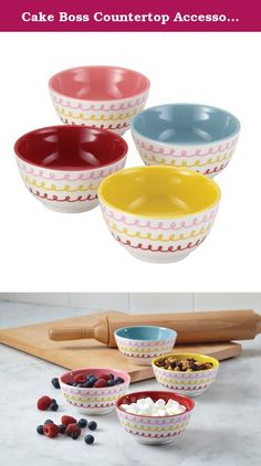 "Cake Boss Countertop Accessories 4-Piece Melamine Prep Bowl Set to mix up cake frosting, share snacks and measure baking ingredients. The Cake Boss Countertop Accessories 4-Piece Melamine Prep Bowl Set in the distinctive ""Icing"" Pattern combines fun designs with unlimited uses when prepping ingredients. These 8-ounce sturdy melamine bowls boast a hip, retro style and bakeshop heritage look that complements other lively pieces in the Cake Boss Countertop Accessories and Serveware…"