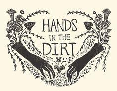 swan-bones:  Hands in the DirtBlock print 2017by Kelly Louise...