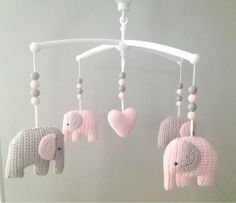 Crochet Elephant Amigurumi Free Pattern with Video Crochet Baby Mobiles, Crochet Mobile, Crochet Baby Toys, Crochet Diy, Love Crochet, Crochet For Kids, Crochet Animals, Baby Knitting, Crochet Ideas