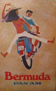 scooter fun - bermuda , pan american airways 1960s