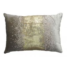 B70238 Stone Velvet Pillow with Gold foil and Beadwork