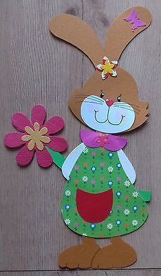Window picture cardboard spring / easter an easter bunny girl .- Fensterbild Tonkarton Frühling/Ostern Ein Osterhasen Mädchen mit Blume – Picture Archive Window picture cardboard spring / easter an easter bunny girl with flower – # Spring Easter - Diy Crafts To Do, Clay Crafts, Crafts For Kids, Simple Crafts, Felt Crafts, Easter Art, Easter Crafts, Easter Bunny, Clay Box