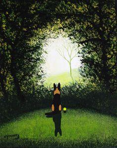 German Shepherd Dog LARGE Folk Art PRINT Todd by ToddYoungArt, $19.95