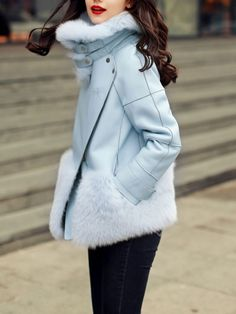 Buy Blue Long Sleeve Faux Fur Coat from abaday.com, FREE shipping Worldwide - Fashion Clothing, Latest Street Fashion At Abaday.com