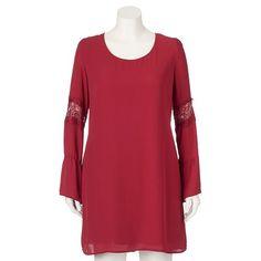 Juniors' Plus Size Speechless Lace-Inset Shift Dress