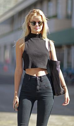 black crop top + high waisted jeans