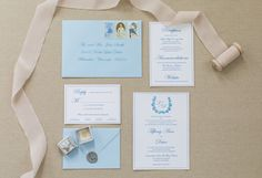 royal blue and white wedding invitation - formal and traditional