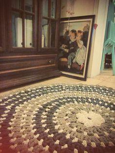 Glitter flower - rug ,hand made   crochet love .
