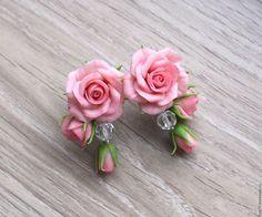 Серьги ручной работы. Ярмарка Мастеров - ручная работа. Купить Серьги с розами. Handmade. Розовый, розы