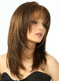 Vintage Hairstyles With Bangs Medium Brown Straight Human Hair Wigs - If you're looking for Medium Brown Straight Human Hair Wigs, HoWigs is the perfect choice. Order Human Hair Wigs at professional online shop. Layered Haircuts With Bangs, Haircuts For Long Hair, Hairstyles With Bangs, Layered Hairstyles, Trendy Hairstyles, Hairstyle Ideas, Pixie Haircuts, Prom Hairstyles, Straight Hairstyles