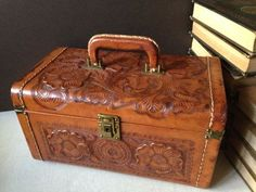 Vintage Mexican Tooled Leather Suitcase Cosmetic by havetohaveit ...