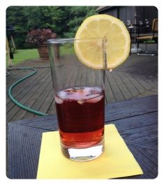 croft pink port cocktail - pink port mixed with club soda, ice, and a slice of lemon – so easy and yet so good!