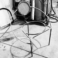 Metal Lara Bohinc, Orbit Chair, Coated Steel and Wool Fabric, Black For Sale