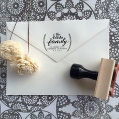 Address Stamp / Calligraphy Stamp / Wedding Stamp / Wedding Invitations / Housewarming Gift / Christmas Stamp / Save the Date / Wreath Stamp by SugarAndChicShop on Etsy https://www.etsy.com/listing/209539323/address-stamp-calligraphy-stamp-wedding
